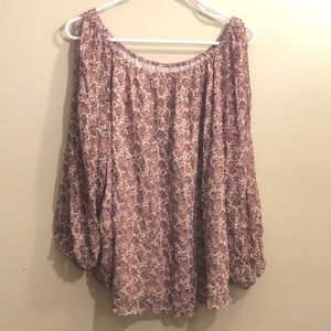 Philosophy floral pink blouse w/ long sleeve slits